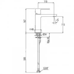 Monomando loft-Tres lavabo aireador maneta 20010301 | Griferia Tres