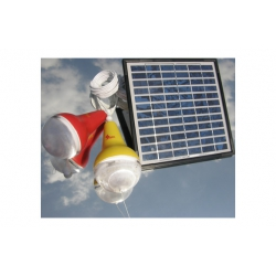 Panel solar con 2 bombillas led blanco