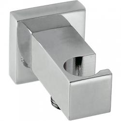 Soporte ducha tres con toma pared cuadrado acero 006.182.01.ac