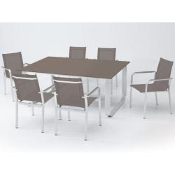 Mesa terraza rectangular arena 170x100 cm aluminio cristal