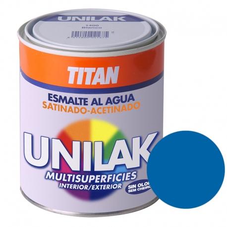 Esmalte al agua unilak titan satinado azul luminoso 750 ml