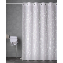 Cortina de baño magic poliester 180x200 cm ramitas blanco