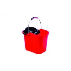 Cubo con escurridor y asa metalica rojo