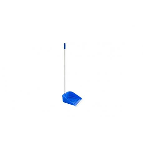 Recogedor con goma y palo azul