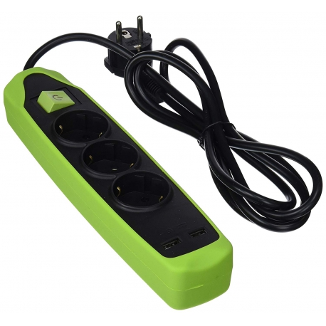 Base multiple silicona 3t+2usb cable 2m negro/verde