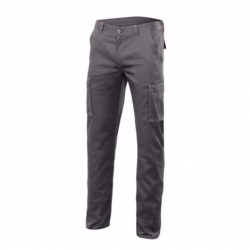 Pantalon multibolsillos stretch gris t46