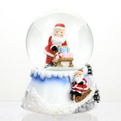 Bola de nieve papa noel con musica cristal 12.50 cm