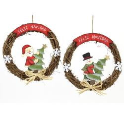 Colgante corona feliz navidad