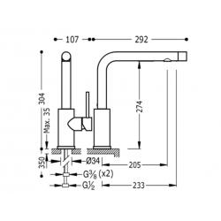 Monomando fregadero vertical top-tres con doble funcion226995