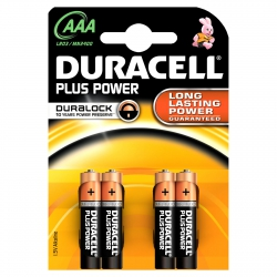 Pila duracell aaa lr03 plus power 4 unidades
