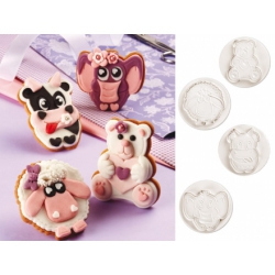 Cortador de galletas con expulsor set animales