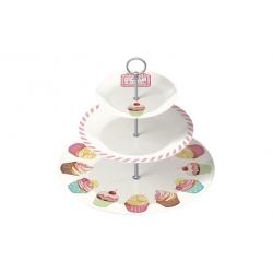 Bandeja 3 pisos decorada para cupcakes