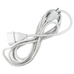 Prolongador cable 2 x 1mm blanco 10a -5 metros