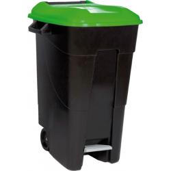 Contenedor residuos tayg con pedal y ruedas tapa verde 120 litros