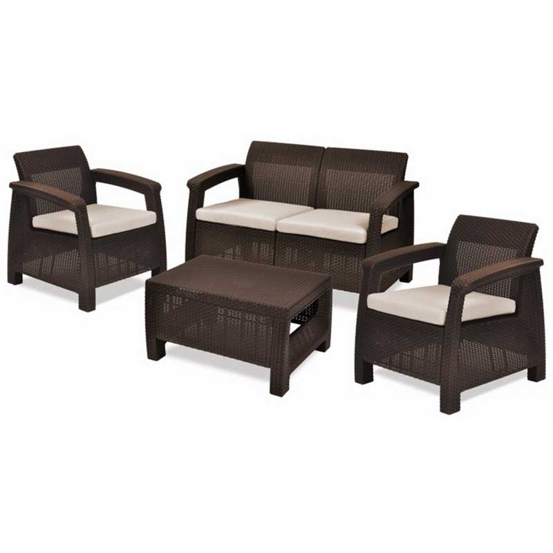 Set corfu lounge marron keter for Set de resina de jardin trenzado barato