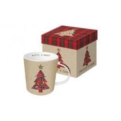 Mug bone china 0,35cl tartan tree red