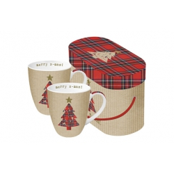 Mug bone china 0,25cl set 2 unidades tartan tree red