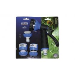 Set de riego pistola 7 formas de riego aquacontrol conectores 19 m - c2494d