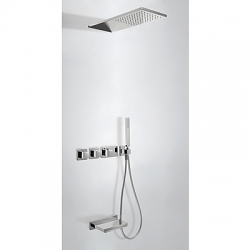 Termostatica kit baÑera tres exclusive block system empotrado pared cromo 207.253.05