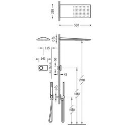 Kit electronico termostatico slim tres ducha empotrado pared cromado 09286551