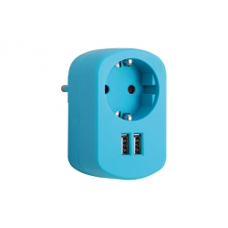 Adaptador con doble usb azul
