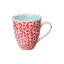 Mug porcelana rojo borde celeste 300 ml
