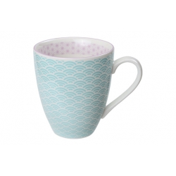Mug porcelana celeste borde violeta 300 ml