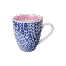 Mug porcelana marino borde fucsia 300 ml