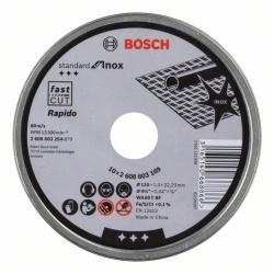 Disco de corte recto bosch 115 x 1 mm inox rapido - lata 10 discos