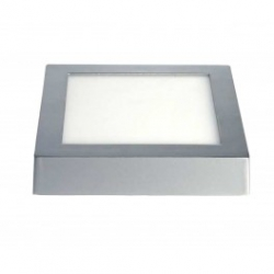 Downlight led matel 24 w 2400 lumenes superficie cuadrado plata luz fria 6400 k