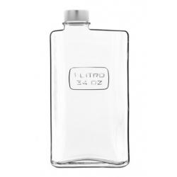 Botella vidrio rectangular bormioli 1l transparente