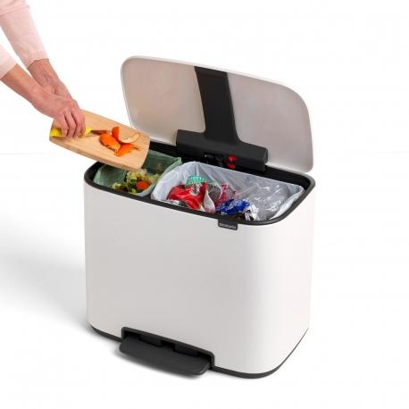 Cubo de reciclaje brabantia bo pedal blanco 11+23 l