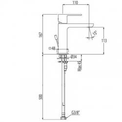 Monomando loft-Tres lavabo cascada maneta 20010101