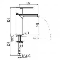 Monomando loft-Tres lavabo cascada maneta 20011001