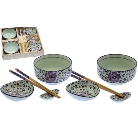 Set 4 cuencos ceramica con palillos madera