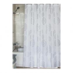 Cortina de baño espiral poliester 180 x 200 plata
