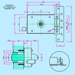 Cerradura inceca modelo 308 golpe y llave derecha llave plana cromada