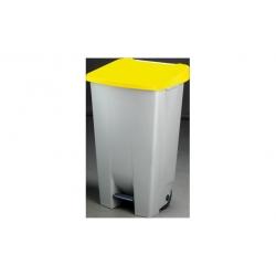 Contenedor selectivo amarillo con pedal y ruedas 120 litros