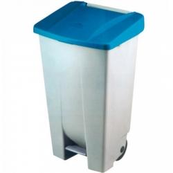 Cubo basura selectivo azul con pedal y ruedas 120 litros