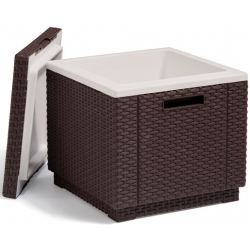 Mesa nevera ratan resina ice cube marron