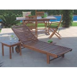Mesa auxiliar baja de madera tropical acacia fsc275059