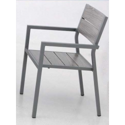 Silla de jardin aluminio dark apoyabrazos apilable gris marron