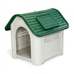 Caseta resina para perro dakota 72x87x75 cm beige y verde