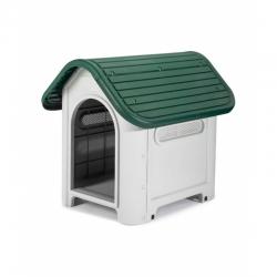 Caseta resina para perro kira 59x75x66 beige y verde