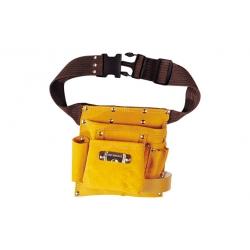 Bolsa portaherramientas piel amarilla con cinturon 7 bolsillos