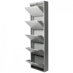 Zapatero 5 puertas metalico gris