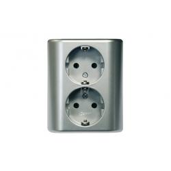 Doble base simon monobloc empotrar aluminio