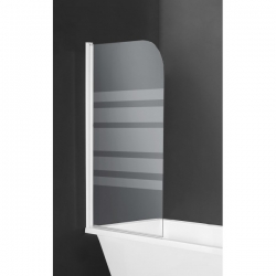 Mampara de ducha 1 hoja serigrafia horizontal blanca 80x140 cm