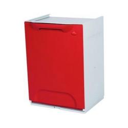 Cubo de reciclaje individual modular apilable rojo