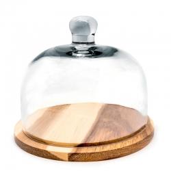 Quesera de vidrio con base de madera